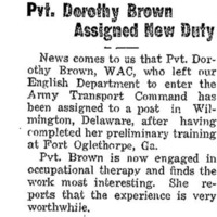 Pvt. Dorothy Brown Assigned New Duty.png