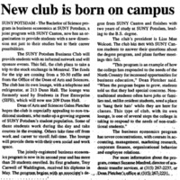New Club is Born on Campus