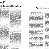 """School-within-School"" Slated for Liberal Studies"